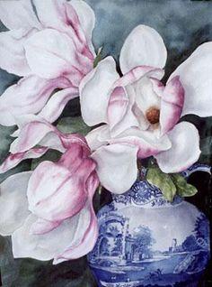 Pam Sackville, Magnolias in a jug, 2002