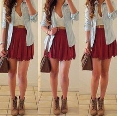 Crop top... Maroon... Skater skirt... All the things I love and it's all brought together in this look with a brown belt and a cute jacket.
