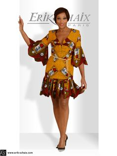 Conakry / Robe en super wax / Collection exclusive de Erik Schaix / 6, rue Saint Florentin – La Concorde – 75001 Paris – France + 33 (0) 1 42 61 19 10  www.Erik-Schaix.com African Print Dresses, African Wear, African Dress, Africa Fashion, Ethnic Fashion, Womens Fashion, Nigerian Outfits, Indian Outfits, Ankara Clothing