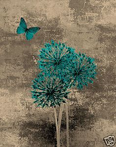 Teal Brown Blue Butterfly Floral Wall Art Home Interior Decor Matted Picture | eBay