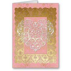 Valentine Filigree Heart & Gold Damask Pink Card
