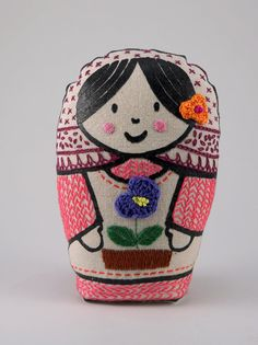 Lore - screenprinted and handembroidered matryoska, handmade cloth doll with cat, kitten, in pastel colours