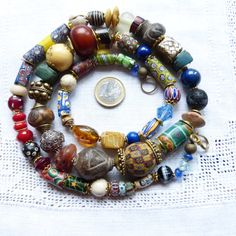 Long exquisite Venetian and other antique African Trade Beads necklace