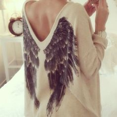 DIY angel wings sweater idea – stencil on angel wings with fabric paint to plain, inexpensive sweater