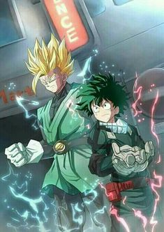 Dragon ball, gohan, izuku midoriya, crossover, my hero academia. Anime Expo, Otaku Anime, Manga Anime, Anime Art, Goku Manga, Anime Love, All Anime, Anime Crossover, My Hero Academia