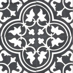 Cement Tile Shop - Encaustic Cement Tile Roseton Noche for step up inlay from living to dining room
