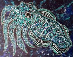 "Folk Art painting Cuttlefish oceanic original painting on canvas  luminous deep blue teal white  16""x20"""