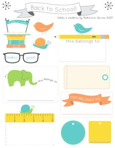 Back to School sticker labels | Katherine Lenius
