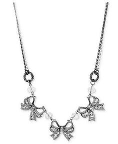 Betsey Johnson Two-Tone Dangling Bow Charm and Chain Necklace
