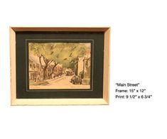 $52 for sale 2020 William McK Spierer Framed Watercolor Art Print | Etsy Vintage Art Prints, Vintage Frames, Watercolor Print, Painting On Wood, Original Art, My Arts, Framed Prints, Wallet