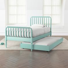 Jenny Lind Teal Trundle Bed | Crate and Barrel