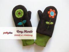 Kinder Fäustlinge, Handschuhe nähen I Kostenloses Schnittmuster únd Nähanleitung für Kinderhandschuhe aus Fleece, für 2, 4 und 6-jährige.