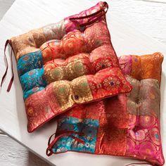 Jaipur brocade filled chair pad
