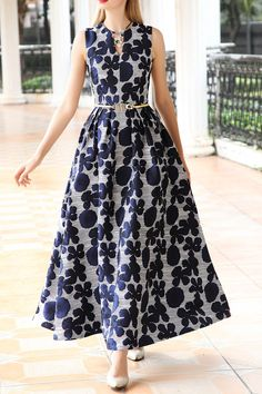Differentes Blue Floral Maxi Dress | Maxi Dresses at DEZZAL