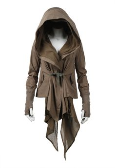 SHOP BY LOOK WOMEN :: OUTERWEAR :: HARKIN JACKET - NICHOLAS K                HARKIN JACKET    CODE: O-229    PUCKERED CANVAS HOODED DRAPE JACKET. WOOL RIBBED CUFFS WITH THUMBHOLES. COTTON GAUZE DRAPE FRONT DETAIL AND DRAWCORD WAIST. DUAL HAND FLAP POCKETS. 100% COTTON.  $479