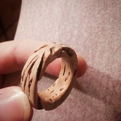 Peach pit ring in the making Wooden Earrings, Wooden Jewelry, Leather Jewelry, Resin Jewelry, Stone Crafts, Wood Crafts, Hippie Crafts, Peach Pit, How To Make Rings