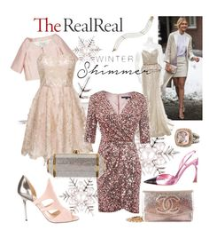 """""""Holiday Sparkle With The RealReal: Contest Entry"""" by joyfulnoise1052 on Polyvore featuring Mikimoto, Peter Som, Valentino, Chi Chi, French Connection, Christian Dior, Chanel, David Yurman, Jimmy Choo and Judith Leiber"""