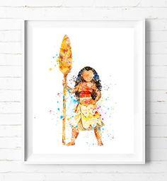 Disney Princess Moana Art Print Poster Watercolor Painting Wall Art Home Decor Baby Girl Nursery Kids Gifts [551] #moana #disney #princess #watercolor #painting #print #homedecor #kids #nursery #girls #babyroom #wallart #gifts