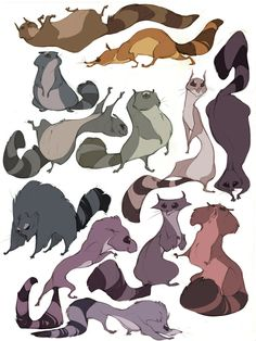 raccoons by CoconutMilkyway on deviantART exploring weird shapes, color schemes Character Design Cartoon, Character Design References, Character Design Inspiration, Raccoon Drawing, Raccoon Art, Animal Sketches, Animal Drawings, Drawing Animals, Disney Animation