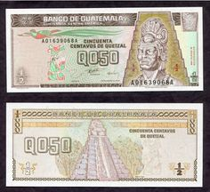 1996 GUATEMALA 1/2 Quetzal BANKNOTE Tecun Uman CU temple - World Currency (I want the Pyramid and the Indian tattoed)