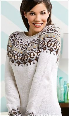 Ravelry: Nordica pattern by Amy Gunderson Fair Isle Knitting Patterns, Jumper Patterns, Knit Patterns, Poncho, Knit Cardigan, Fair Isle Pullover, Motif Fair Isle, Icelandic Sweaters, Creative Knitting