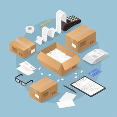 Vector isometric illustration of online purchase and delivery. Credit card machine printing large receipt with credit card laying nearby, cardboard boxes, packages with delivery form and pencil. Isometric Art, Isometric Design, Credit Card Machine, House Illustration, Home Design Plans, Online Purchase, Three Dimensional, Stickers, Infographic
