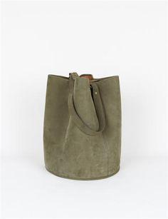 creatures of comfort bucket bag in large olive.