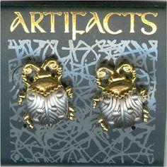 Golden Pewter Ladybug Post Earrings by JJ - Gift Boxed
