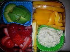 Adult Snack Bento  -Avocado -Strawberries -Yellow peppers -baba ghanoush