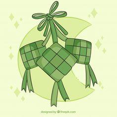 Traditional ketupat composition with fla. Eid Mubarak Background, Eid Mubarak Greetings, Logo Samples, Sales Image, Vector Photo, Flat Design, Vector Free, Composition, Clip Art