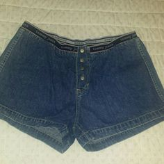 "Denim Shorts, Snap Fly Tommy Hilfiger denim Shorts with snap fly. 4"" inseam Elasticized waist Tommy Hilfiger Shorts"