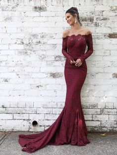 46a966b6151 Off Shoulder Long-sleeve Fitted Lace Mermaid Prom Dresses Evening Dress  LU1853