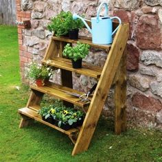 diy ptetty Wooden Garden Plant Ladder - flowers, sprinkling can, outdoor decoration