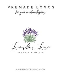 Lavender Farmhouse Style Logo Design Premade No. Shop Icon, Gold Logo, Shop Logo, Text Color, Business Names, Signature Logo, Creative Business, Color Change, Farmhouse Style
