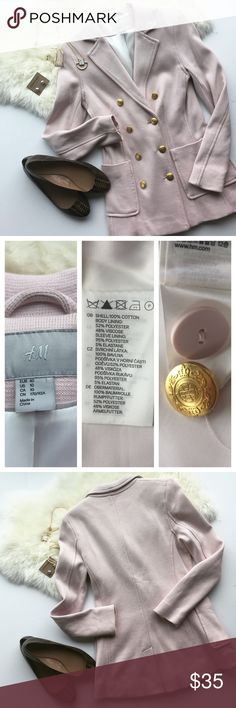"""- H&M - Pale Pink Double Breasted Knit Blazer Comfy & chic the perfect duo! Wear this stretchy knit blazer with a pencil skirt and heels for work or dress down with jeans and booties for a more casual weekend vibe. Excellent pre-loved condition, no flaws, runs small - fits like a Small, see measurements. NWOT, back slit still has safety stitches. Approx. Measurements  Bust: 17"""" Length: 28.5"""" 🛍Bundle & Save 20% on 2+ items! 🙅🏼No trades / selling off of Posh.  ✨Offers always welcome!✨ H&M…"""