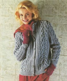 Womens Aran Cardigan PDF Knitting Pattern : Ladies 32, 34, 36, 38, 40 and 42 inch chest . Instant Download by PDFKnittingCrochet on Etsy