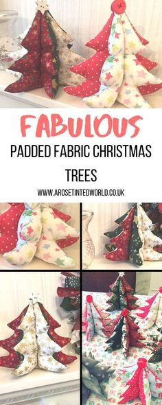 Padded Fabric Christmas Trees - a great idea for a table centrepiece, Gift or Christmas Decoration - make them to match your decor. Free template and picture tutorial Fabric Christmas Decorations, Easy Christmas Ornaments, Fabric Christmas Trees, Christmas Makes, Diy Christmas Tree, Xmas Tree, All Things Christmas, Christmas Ideas, Cake Decorations