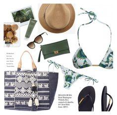"""beach ready"" by sanddollardubai ❤ liked on Polyvore featuring ViX, Pierre Darré, Melissa Odabash, Aveda, Havaianas and Whiteley"