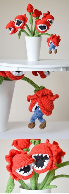 Everything about this man eating plant crochet pattern is amazing! The details -- from the pointy teeth to the little guy hanging out of the plant's mouth -- are perfect! Kind of reminds me of Audrey from Little Shop of Horrors! (affiliate link)