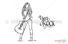 "Katie girl measures approximately 2.75"" x 4.75"". ""You ROCK my world"" sentiment measures approximately 1.25"" x 1.5""."