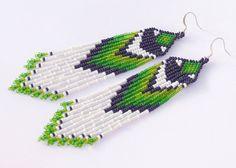 Native American Beaded Earrings Inspired. Green by Burvesrotas, $28.00
