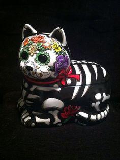 Day of The Dead Cat Dia de Los Muretos Day of The Dead Kitty Cookie Jar Art OOAK | eBay