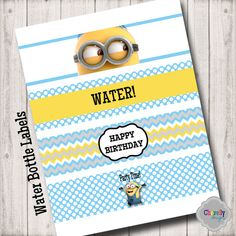 Minion Water Bottle Labels 8.5x2  WB002 by ChevellyDesigns on Etsy