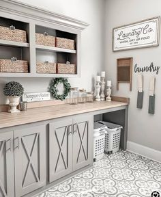 modern farmhouse laundry room with laundry room organization, laundry room storage, neutral laundry room with open shelves with gray cabinets and cement tile floor Mudroom Laundry Room, Laundry Room Remodel, Laundry Room Organization, Laundry Room Design, Storage Organization, Laundry Room Colors, Farmhouse Laundry Rooms, Modern Laundry Rooms, Farmhouse Cabinets