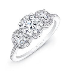 14k+White+Gold+Three+Stone+Diamond+Engagement+Ring+-+14k+White+Gold+Three+Stone+Diamond+Engagement+Ring