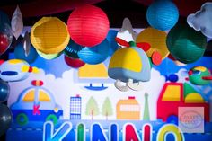 Kinno's Transportation Themed Party – Ceiling setup