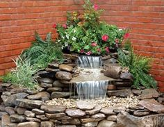 65 Lovely Backyard Waterfall And Pond Landscaping - Garden Waterfall Backyard Water Feature, Ponds Backyard, Backyard Ideas, Landscaping With Rocks, Front Yard Landscaping, Landscaping Ideas, Outdoor Landscaping, Outdoor Waterfalls, Garden Waterfall