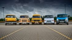 Love this picture of the Ford Transit through the ages! We convert Ford Transits at Sussex Campers but have never done a really old one. Ford Lincoln Mercury, Old Ford Trucks, New Trucks, Ford Transit Campervan, Old American Cars, Old School Vans, Cool Vans, Car Advertising, Earthship