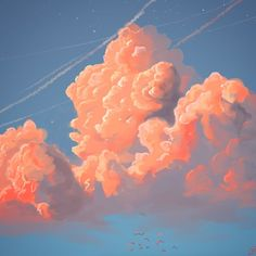 Spent the weekend learning how to paint clouds Aesthetic Iphone Wallpaper, Of Wallpaper, Aesthetic Wallpapers, Sky Aesthetic, Aesthetic Anime, Pretty Art, Cute Art, Japon Illustration, Aesthetic Painting
