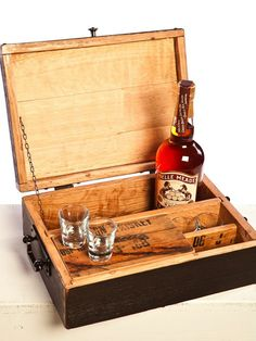 FOR DAD: this box made of whiskey staves has room for shot glasses, a bottle of liquor and a humidor for cigars